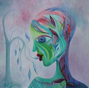 Communion  Gauche and Acrylic on Canvas12 x 12 Inch